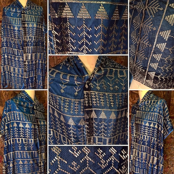 STUNNING 1920s Egyptian Assuit Shawl/Scarf with Te