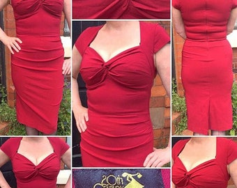 Gorgeous 'House of Foxy' 1940s Style Red Wiggle Dress with Gathered Sweetheart Neckline!