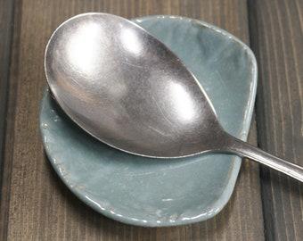 Handmade Spoon holder, Aqua Green with Tan highlights.
