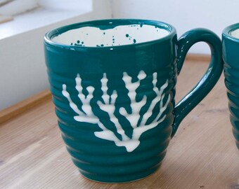 16 ounce mug, Teal / White, teal and white ceramic, ocean coral design, coffee drinkers cup, gift for tea lover, beach house kitchen