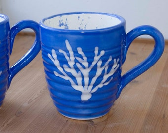 Blue/ White, Large coffee mug, 16 ounce cup, cerulean blue, white coral design, white inside with blue spatters