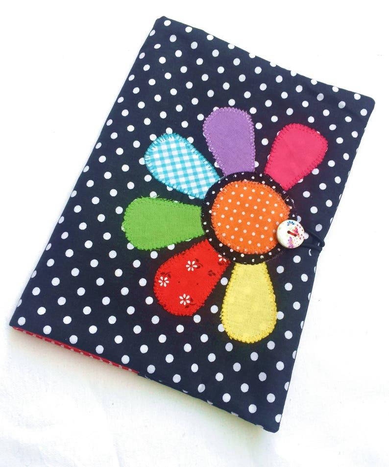 Flower applique book cover Fabric book cover