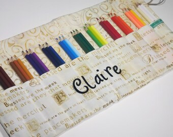 Pencil Case Holds 36 Colored Pencils, Baptism Gift, First Holy Communion Coloring Gift