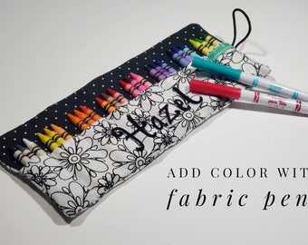 Color it Crayon Case. Choose to add Fabric pens. Personalize with a Name. Coloring gift