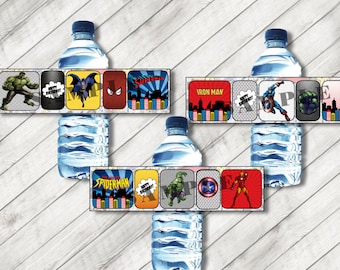 Printable Water Bottle Labels Superhero Avenger Comic Marvel Superhero Printable PDF File Thor Spiderman Batman Superman Hulk Iron Man