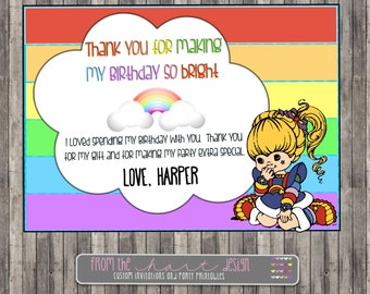 Rainbow Brite Birthday Party Thank YouCustom Personalized Printable Digital File Bright Invitation