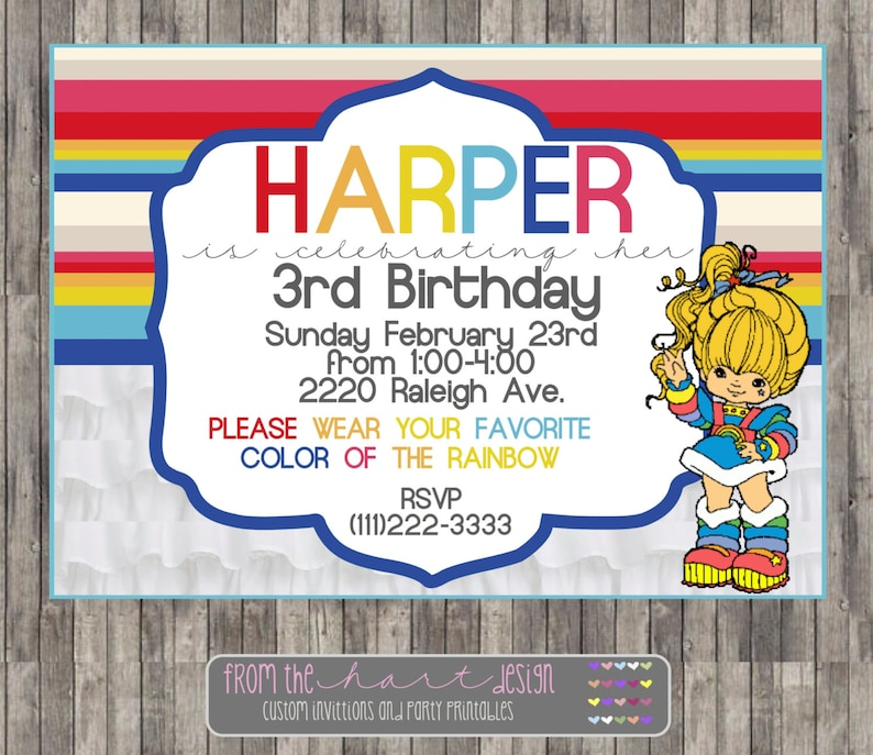 Rainbow Brite Birthday Party Invitation Printable Digital