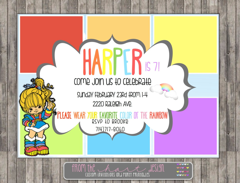Rainbow Brite Birthday Party Invitation Printable Digital