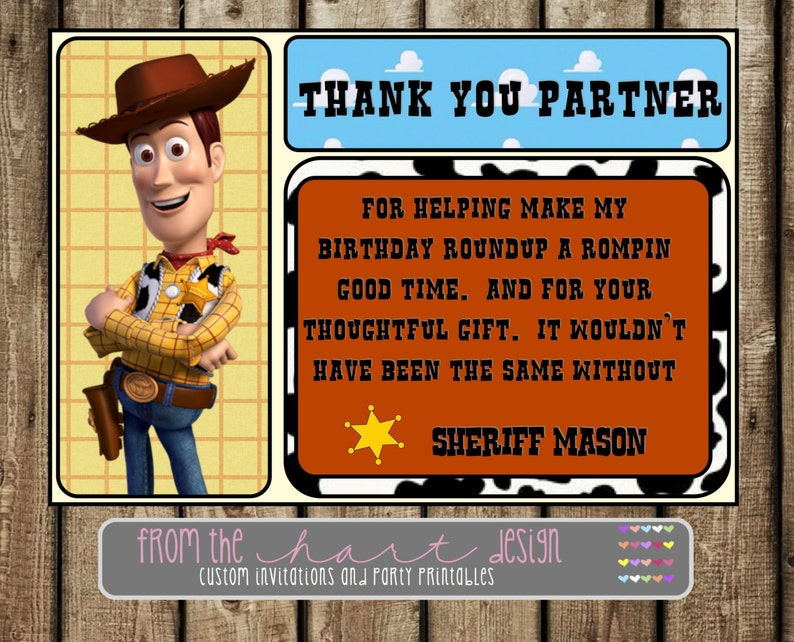 Disney Sheriff Woody Birthday Party Thank You Toy Story  2fbdcc804af1