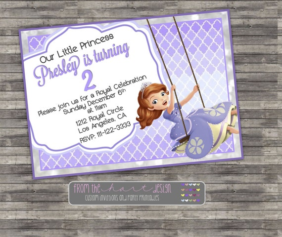 Princess Sofia The First Birthday Invitation Disney