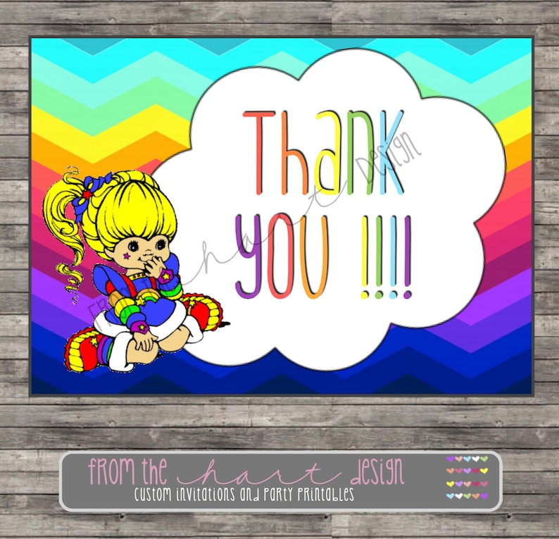 Rainbow Brite Birthday Party Thank YouCustom Personalized