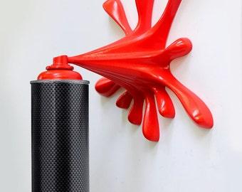 Black Carbon Splash Spray Can Sculpture