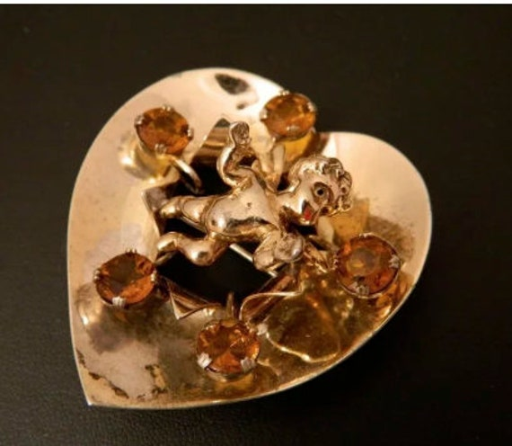JOLLE sterling Cupid 40's Heart PIn Pendant Brooch