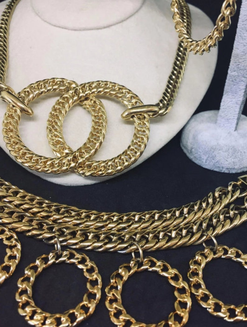 MONET chain Necklace Bracelet Earrings SET Parure
