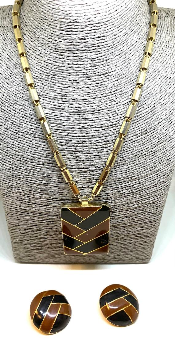LANVIN PARIS 70's pendant necklace and matching ea