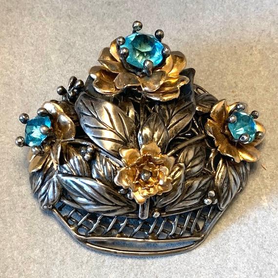 Hobè sterling Hobe 14K gf flower 1940 basket pin b