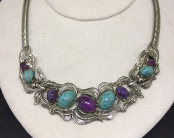 Boucher numbered silver plated faux amethyst and turquoise necklace