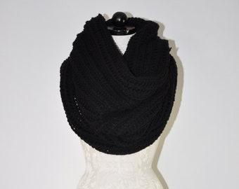 chunky infinity scarf / oversize handknit cowl / black knit neck warmer