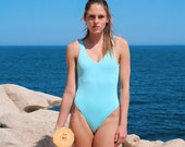 Light blue One-piece Swimsuit with low back