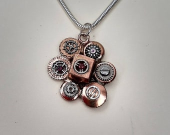 Unique Recycled Watch Winder Pendant on Sterling Silver Chain