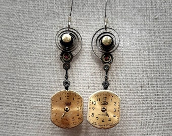 Recycled Vintage Watch Piece Pendulum Earrings with Russian Gold Tone Rectangular Dials