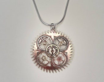 Unique Recycled Watch and Clock Cogs Pendant on Sterling Silver Chain
