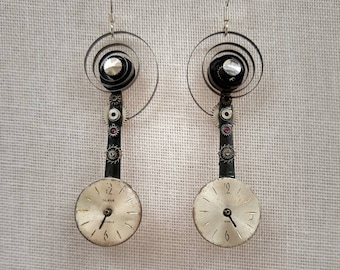 Recycled Vintage Watch Piece Pendulum Earrings with Cream Dials