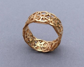 9 carat Gold Plated Recycled Watch Cog Ring