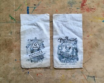 4 Vintage French Gilibert & Tézier cotton pouches • free shipping