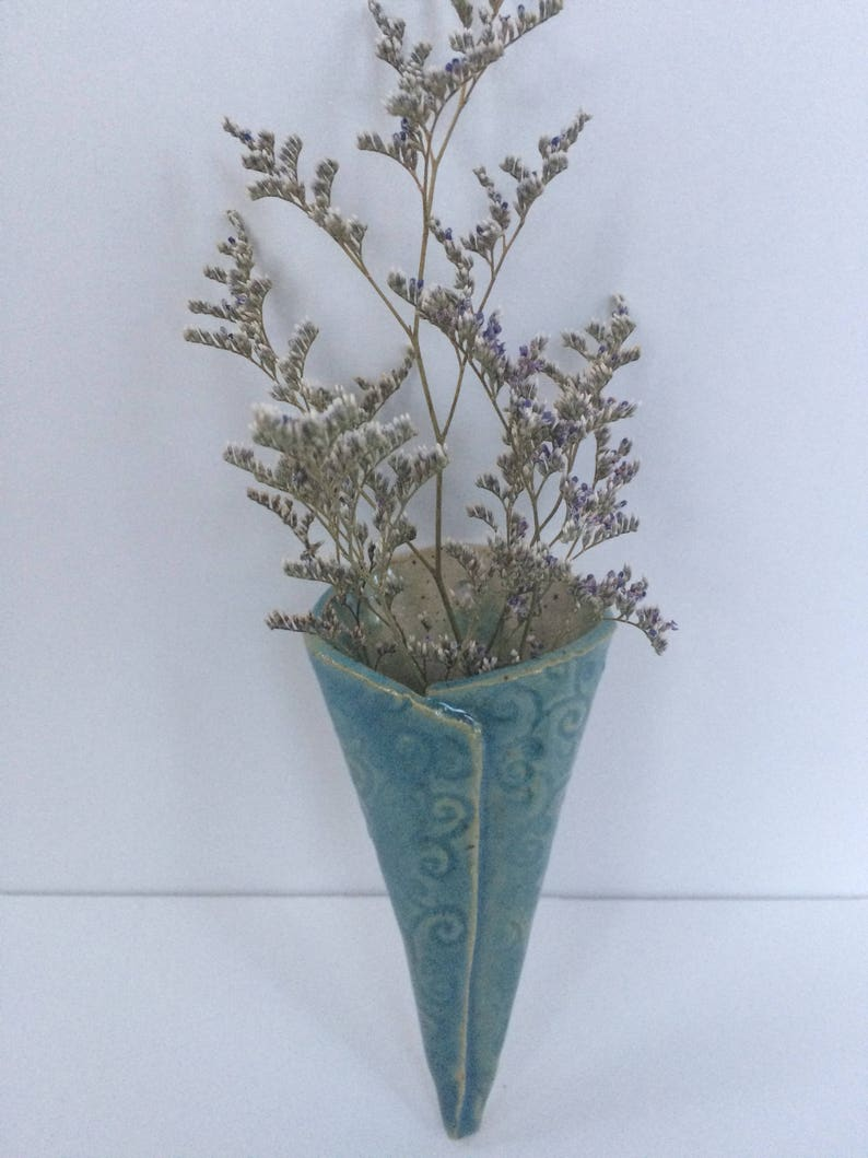 Pottery wall vase wall sconce pottery flower pocket ... on Pocket Wall Sconce For Flowers id=31619