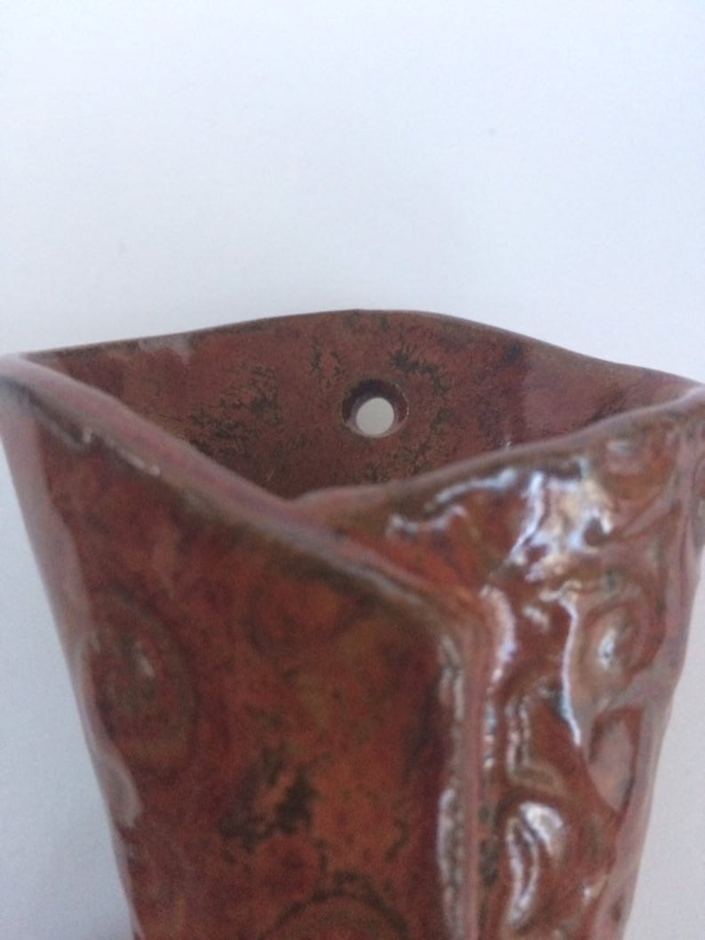 Pottery wall vase wall sconce pottery flower pocket ... on Pocket Wall Sconce For Flowers id=51452