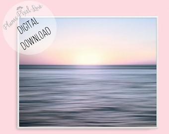 Sunset photography, PRINTABLE DIGITAL ART, Landscape Abstract Ocean print, Sunset coastal wall art, Wallpaper, cards, gift tags, Seascape