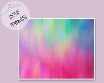 Unusual abstract vibrant rainbow coloured DIGITAL PRINTABLE ART, vertical or horizontal print, contemporary art, stationery, wallpaper, card