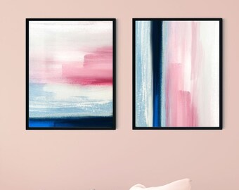 Pastel Painting Set of 2, Abstract Watercolor textured digital art, Printable Wall Art, INSTANT DOWNLOAD, contemporary Poster, stationery