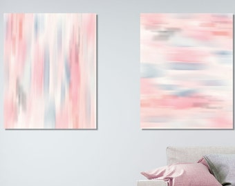 Pastel Painting Set of 2, blurred Abstract Watercolor effect, textured digital art, Printable Wall Art, INSTANT DOWNLOAD, Modern Poster