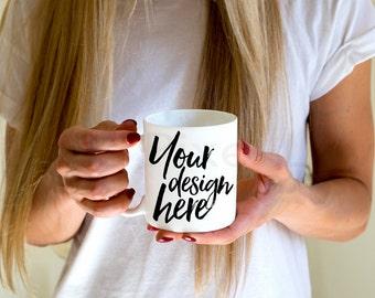 Download Free Mug Mockup, Styled Stock Mug mock up, womans hands holding Mug, Product Photography, Digital Image, white blank coffee mug mock-up, PSD Template
