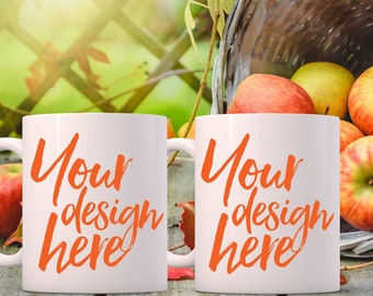 Download Free Autumn Styled Stock Mug Mock up, Autumn mockup, 2 blank white Coffee Mugs, styled Photography, space for quote, Fall mockup, product mock-up PSD Template