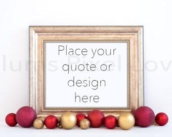 Download Free Christmas Styled Frame Mockup, Mock-up, landscape Gold Frame Mockup, Modern art, Styled frame with red baubles, Instant download, Digital PSD Template