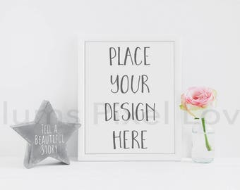 "Frame Mockup, Styled Stock photo rose theme 10x8"" portrait white frame Mockup  High Res Jpeg file + PSD with smart object -"
