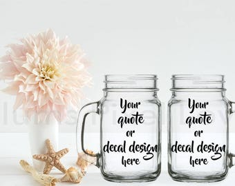 2 Mason Jars mockup, pretty Stock photograph Mock-up, Mason jars for Decals, vinyl stickers or engraving, Digital file, mock-up, download
