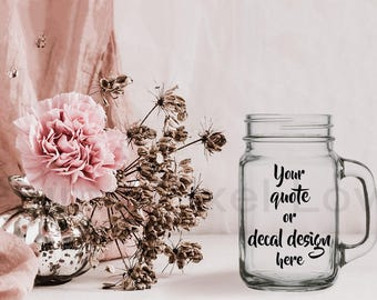 Mason Jar mockup, pretty Stock photograph Mock-up, Mason jar for Decals, vinyl stickers, engraving, Digital file, carnation & seed head