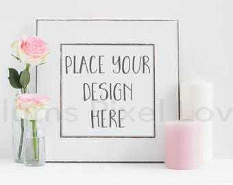 Frame Mockup, Styled Stock photo rose and candle theme square white wooden frame Mockup  High Res Jpeg file + PSD with smart object