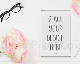 Tablet Mockup, Styled Stock photo rose and glasses theme, vertical white iPad Mockup,  High Res Jpeg file + PSD with smart object