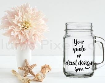 Mason Jar mockup, pretty Stock photograph Mock-up, Mason jar for Decals, vinyl stickers or engraving, Digital file, mock-up, download