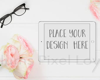 Tablet Mockup, Styled Stock photo rose and glasses theme horizontal white iPad Mockup  High Res Jpeg file + PSD with smart object