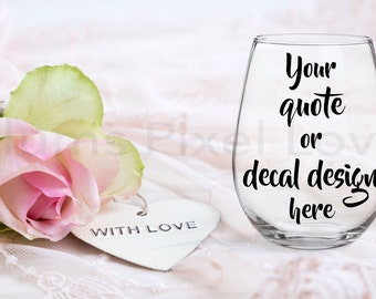 Wine Glass Mockup, Styled Stock wine glass Image, Mock up stemless wine glass for Decals, stickers or engraving, Digital file, mock-up