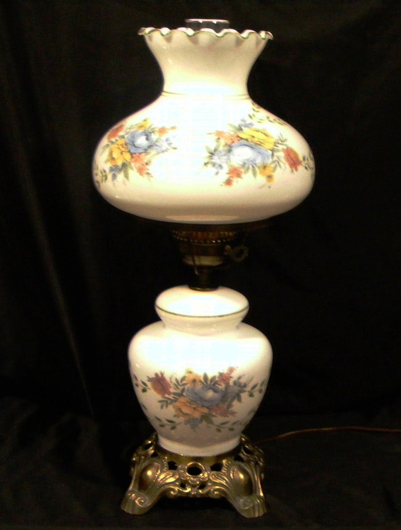 Gone With The Wind 3 Way Tv Parlor Table Lamp Night Light Handpainted Floral White Milk Glass Globe Hurricane Chimney By Accurate Casting