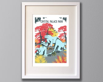 Crystal Palace Park Dinosaurs, Limited Edition A3 Screen Print, South London -  (UN)FRAMED Art  Turquoise