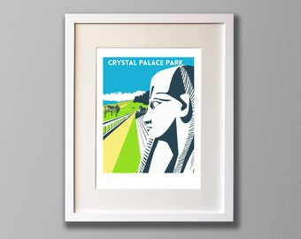 Crystal Palace Park Sphinx, Limited Edition A3 Screen Print, London, South London, UK -  (UN)FRAMED Art