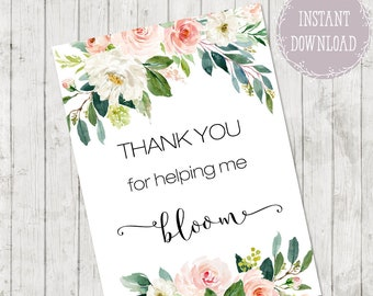 Thank you notes for teacher, Teacher Appreciation Card PRINTABLE, Thank You For Helping Me Bloom Thank You Card, Graduation Gift